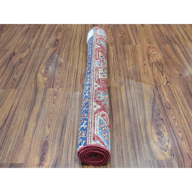 Shahbanu Rugs Khorjin Design Colorful Kazak Pure Wool Hand Knotted Rug For Sale - Image 4 of 6