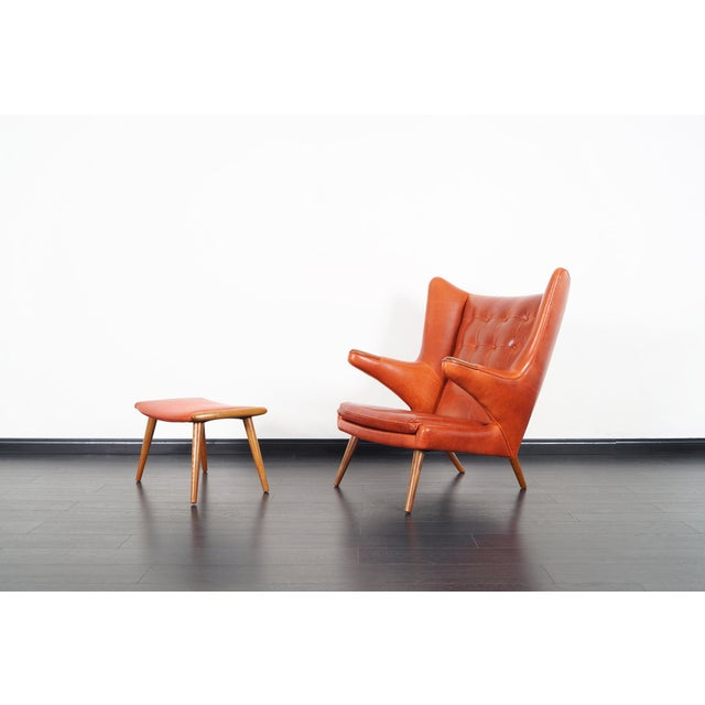 "A.P. Stolen Ap-19 ""Papa Bear"" Chair and Ottoman in the Manner of Hans J. Wegner - a Pair For Sale - Image 4 of 12"