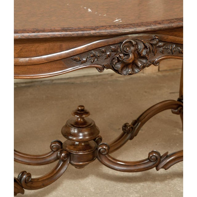 Wood 19th Century French Louis XV Rouge Marble Top Walnut Library Table For Sale - Image 7 of 10