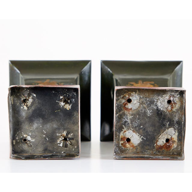 French Neoclassical Directoire Style Tole Vases - a Pair For Sale - Image 10 of 13