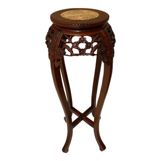 Chinese Carved Wood Pedestal Table For Sale