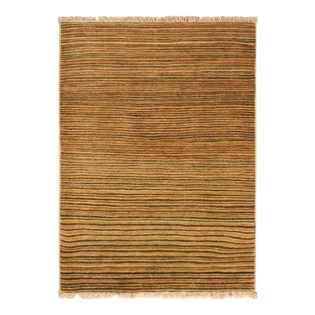 Gabbeh Peshawar Nereida Tan/Rust Hand-Knotted Wool Rug -3'1 X 5'1 For Sale