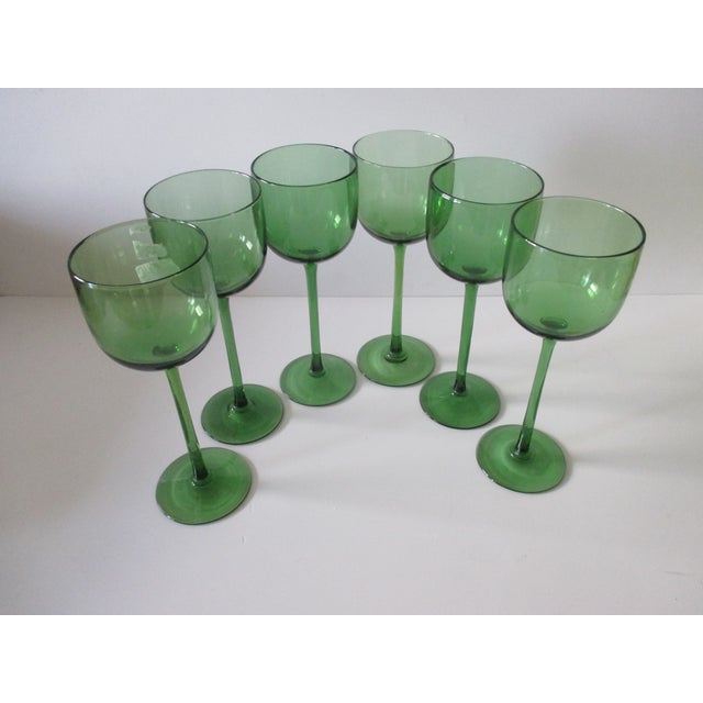 Set of Six (6) Vintage Emerald Green Wine Vases For Sale In Miami - Image 6 of 6