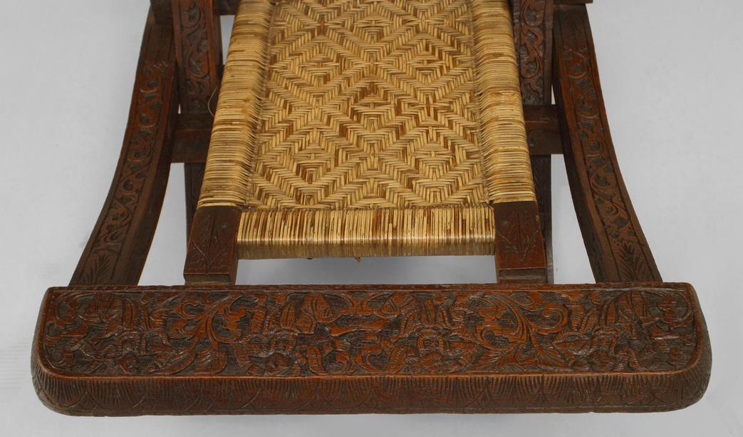 Pair Of Asian Burmese (19th Cent) Teak Carved Folding Campaign Style Side  Chair With