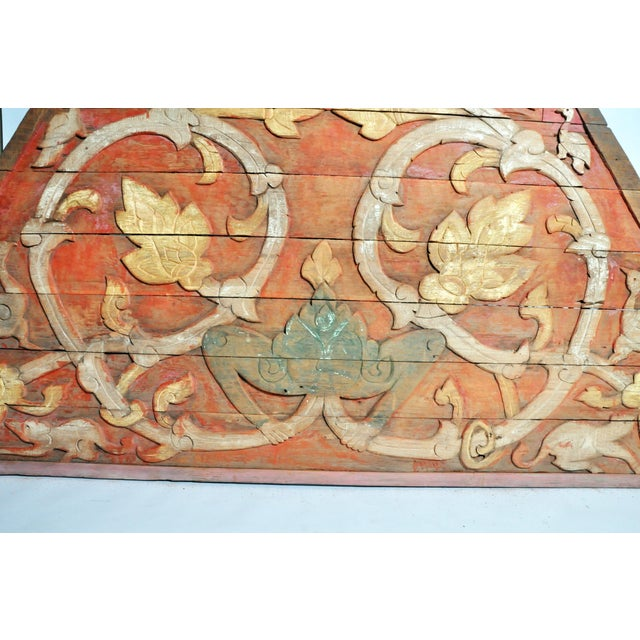 Wood Teak Wood Architectural Gable Fragment For Sale - Image 7 of 9