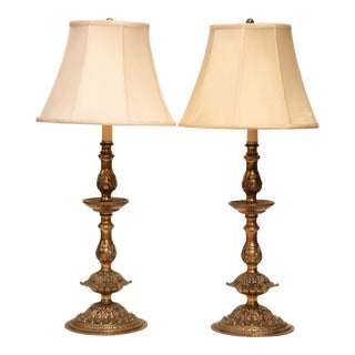 French Doré Bronze Style Candlestick Lamps - a Pair For Sale