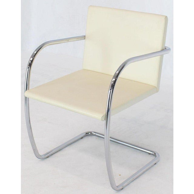 Pair of Thin Pad Tubular Brno Knoll Cream Leather Chairs Midcentury Bauhaus For Sale - Image 10 of 13