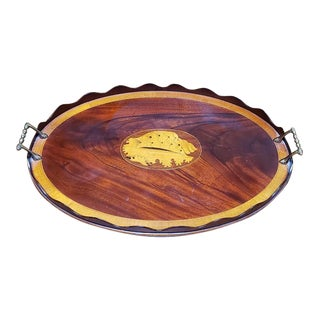 Antique Mahogany & Maple Inlay Serving Tray For Sale