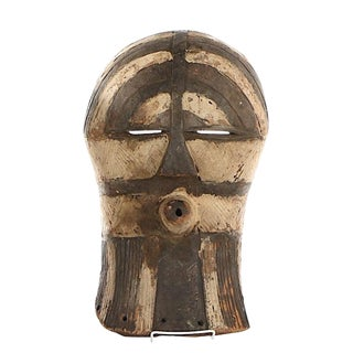 Vintage Hand Carved African Mask-Congo Tribal Society Songye Kifwebe Mask For Sale