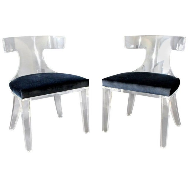 Blue Contemporary Modernist Curved Lucite and Velvet Side Accent Side Chairs-a Pair For Sale - Image 8 of 8