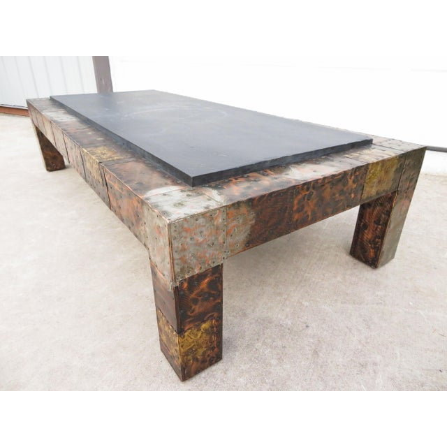 Metal Mid 20th Century Paul Evans Mixed Metal Patchwork Slate Top Coffee Table For Sale - Image 7 of 13