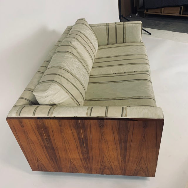 Brown Floating Milo Baughman Cased Rosewood Tuxedo Sofas / Settees-2 Available For Sale - Image 8 of 13