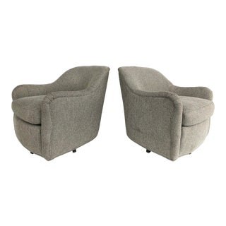 Newly Upholstered Mid-Century Swivel Club Chairs-Pair For Sale