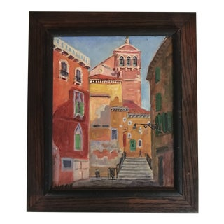 Mid 20th Century Framed Oil Painting of Italian City For Sale
