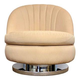 1970s Milo Baughman Scalloped Chrome Swivel Lounge Chair For Sale