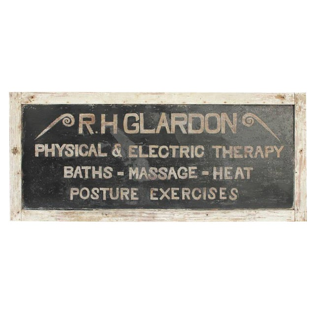 """Early 20th C. Antique """"Physical & Electric Therapy"""" Tin Sign For Sale"""