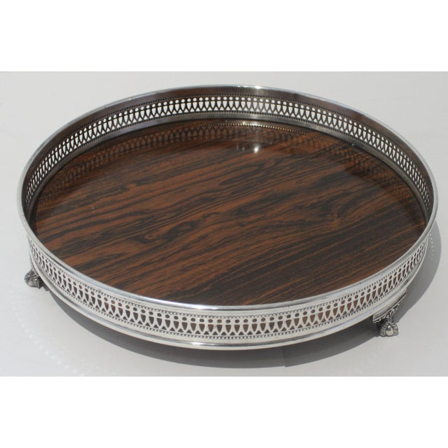 1970s Vintage Sheffield Serving Tray, Silver Plate Formica For Sale - Image 5 of 11
