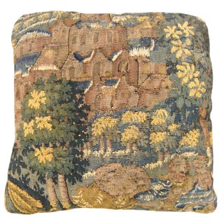 Vintage Decorative Flemish Verdure Landscape Tapestry Pillow For Sale