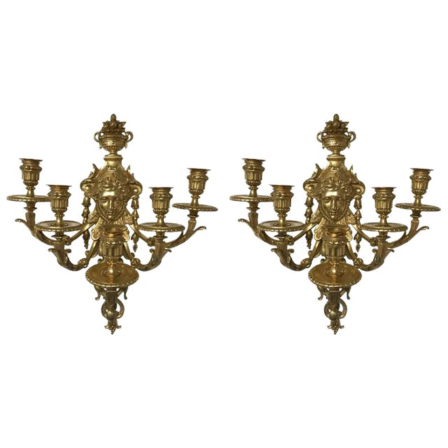 Five-Light Brass Candelabra Sconces - A Pair For Sale