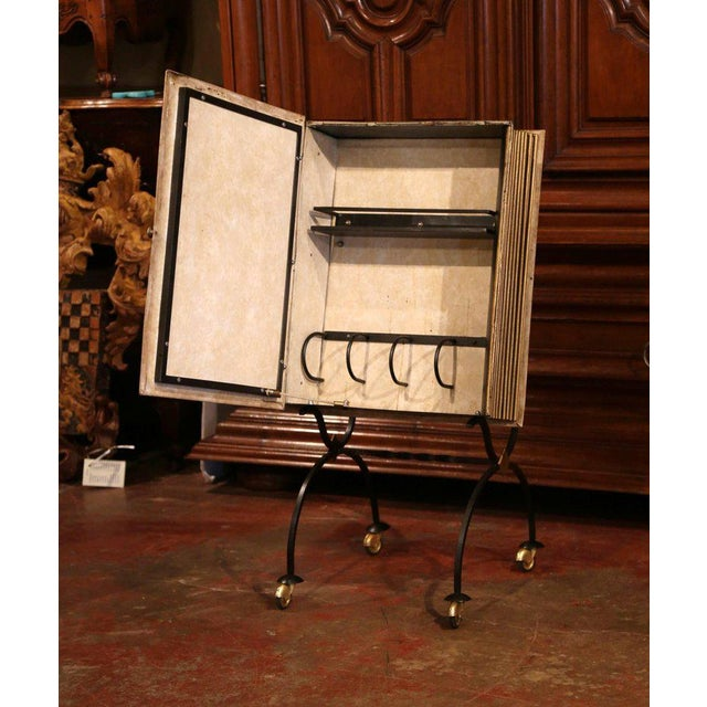 Mid-20th Century French Art Deco Leather and Iron Book Shape Liquor Bar Cabinet For Sale - Image 4 of 9