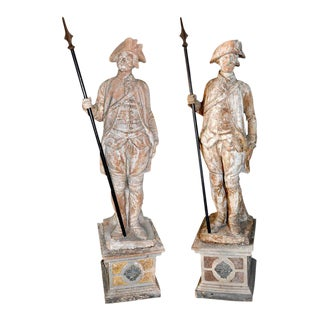 19th Century French Terracotta Entrance Guard Statues - A Pair For Sale