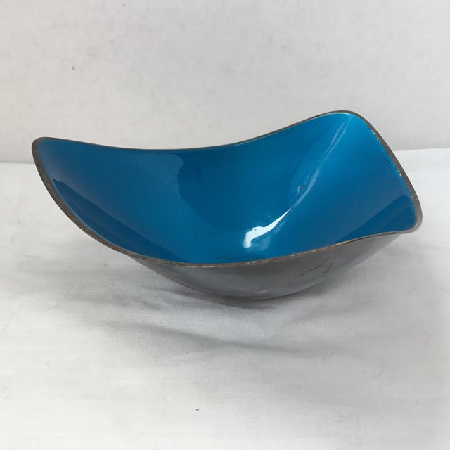 Contemporary Vintage Reed & Barton Silver Plate and Enamel Bowl For Sale - Image 3 of 10