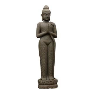 Indonesian Stone Standing Praying Buddha For Sale