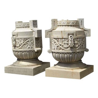 Decorative Limestone Urns - A Pair