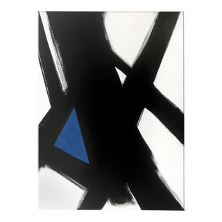 """Abstract Black Slash No. 4 Blue Painting - 36x48"""" For Sale"""