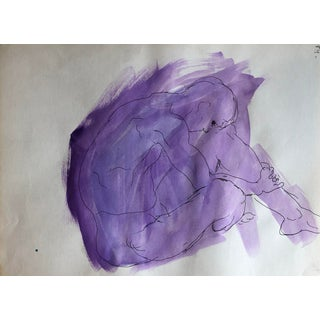 Modern Abstract Male Nude Watercolor, 1950s For Sale