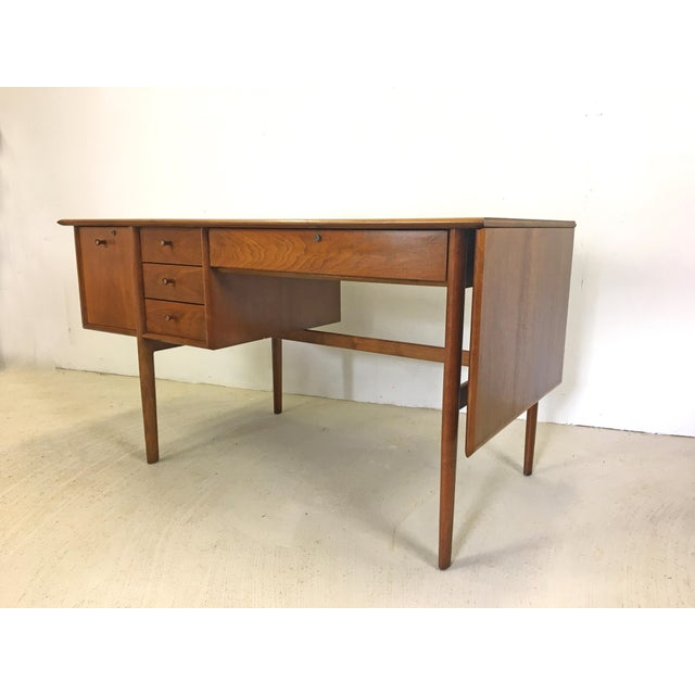 Drexel Parallel Walnut Extension Desk by Barney Flagg For Sale In Boston - Image 6 of 9