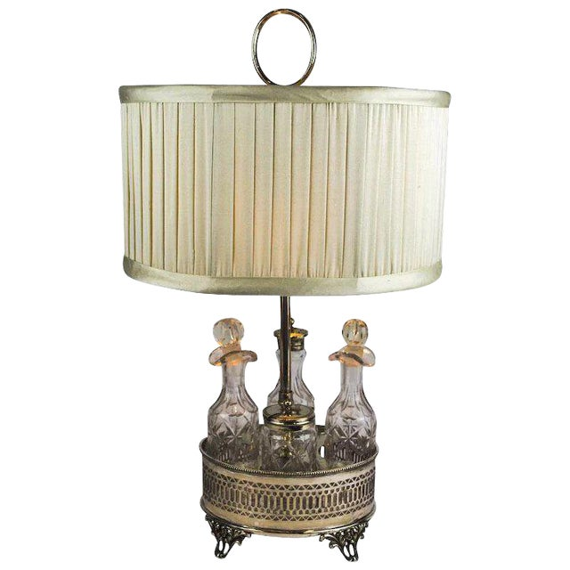 Sheffield Silver Plate and Cut Crystal Cruet Table Lamp For Sale