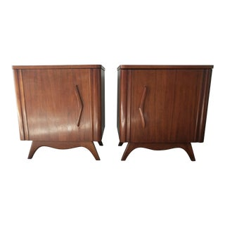 Mid Century Walnut Sculpted Base Side Tables With Boomerang Door For Sale