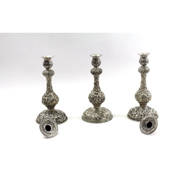 1900s Sterling Repousse Candlesticks - Set of 3 - Image 5 of 6