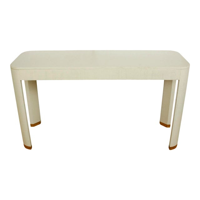White Linen Wrapped Console Table For Sale