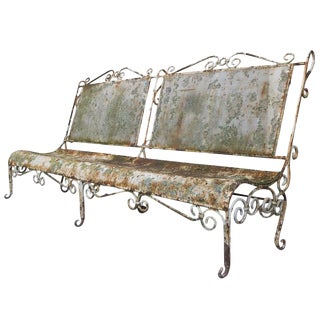 1900s Vintage French Iron Garden Bench For Sale