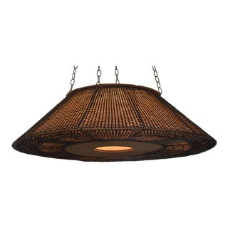 Modern Wicker & Cane Drum Light Fixture