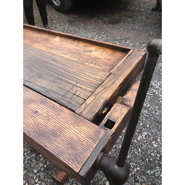 Brown Vintage Hand Made Vermont Large Oak Work Table Console Bar For Sale - Image 8 of 13