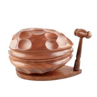 Vintage Hand Carved Monkeypod Nutcracker Box For Sale