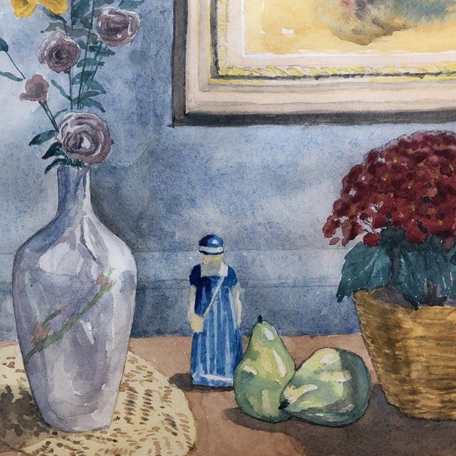 Mid Century Original Still Life/Interior Watercolor For Sale - Image 4 of 10