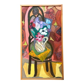 """Mid Century Painting Still Life Modernist """"Flowers"""" For Sale"""