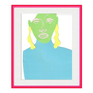 Portrait of a Woman by Virginia Chamlee in Neon Pink Acrylic Shadowbox, Small Art Print For Sale
