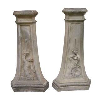 20th Century Figurative Terra Cotta Pedestals - a Pair For Sale