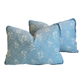 "Blue & White Mariano Fortuny Feather/Down Pillows 22"" X 16"" - Pair"