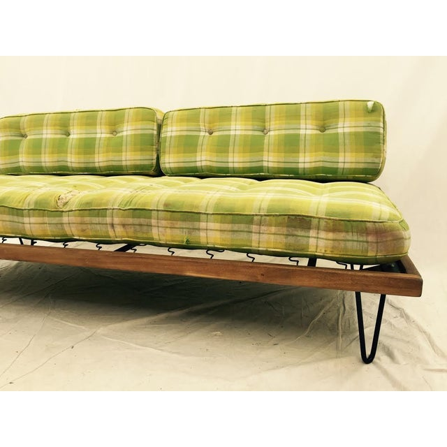 Mid-Century Madras Daybed with Metal Hairpin Legs For Sale In Raleigh - Image 6 of 6