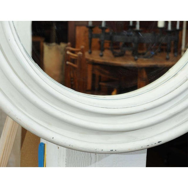 White Round Painted Zinc Architectural Element With Mirror For Sale - Image 8 of 8