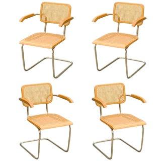"Marcel Breuer Wicker Back Chrome ""Cesca"" Chairs"