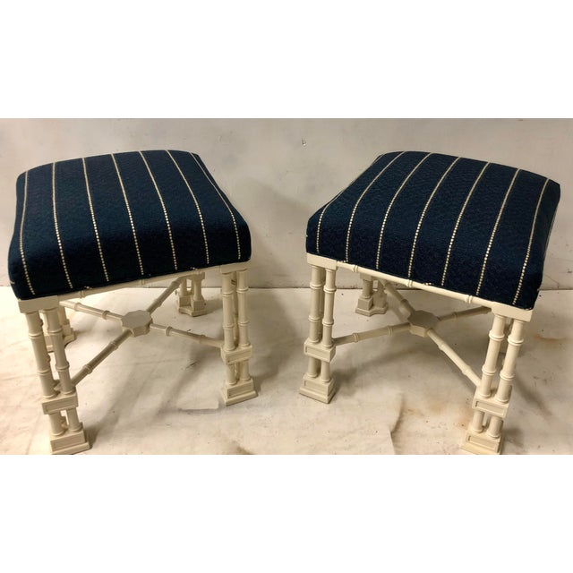Wood Pair Erwin Lambeth Chippendale Style Ottomans For Sale - Image 7 of 9