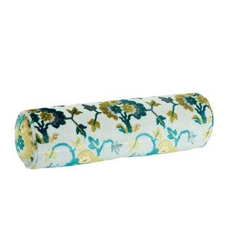 Schumacher Jennie Velvet Bolster Pillow in Peacock & Celadon For Sale