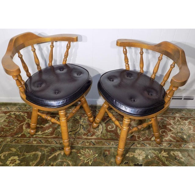 Maple Set of 4 George B. Bent Solid Maple Windsor Swivel Chairs For Sale - Image 7 of 13
